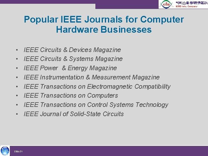 Popular IEEE Journals for Computer Hardware Businesses • • Slide 31 IEEE Circuits &