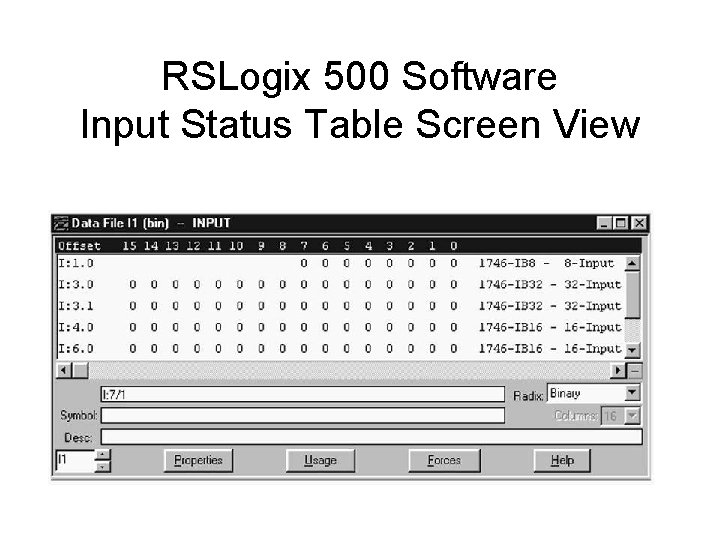 RSLogix 500 Software Input Status Table Screen View