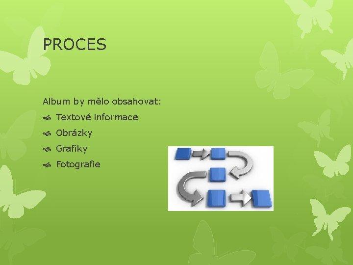 PROCES Album by mělo obsahovat: Textové informace Obrázky Grafiky Fotografie