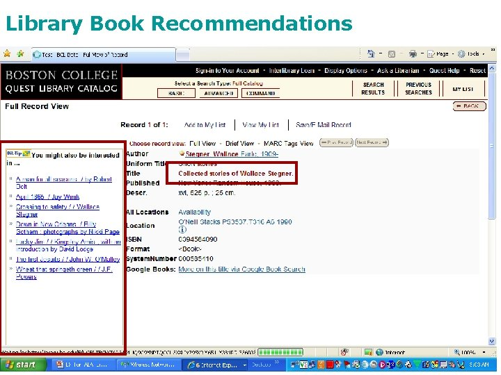 Library Book Recommendations Stellenbosch, February 2010