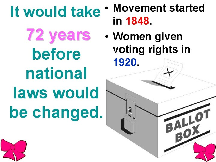 It would take 72 years before national laws would be changed. • Movement started