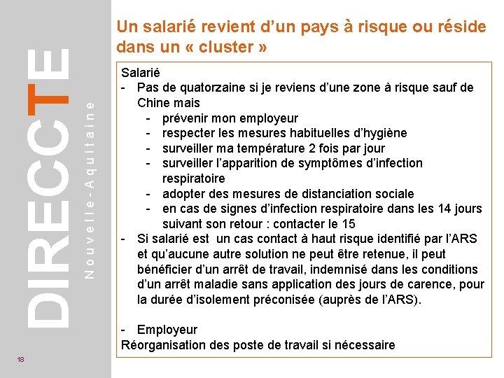 Nouvelle-Aquitaine DIRECCTE 18 Un salarié revient d'un pays à risque ou réside dans un