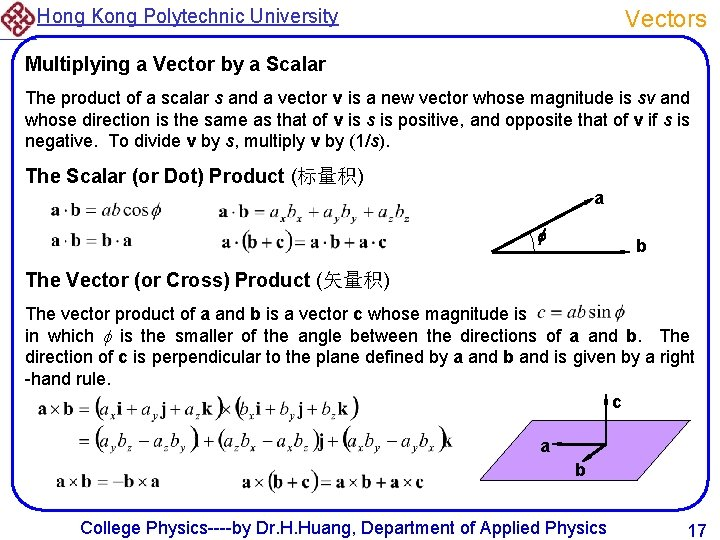 Hong Kong Polytechnic University Vectors Multiplying a Vector by a Scalar The product of