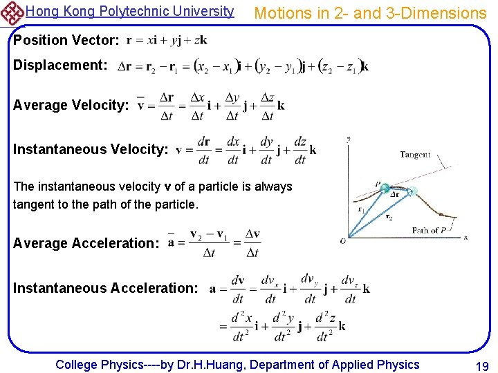 Hong Kong Polytechnic University Motions in 2 - and 3 -Dimensions Position Vector: Displacement: