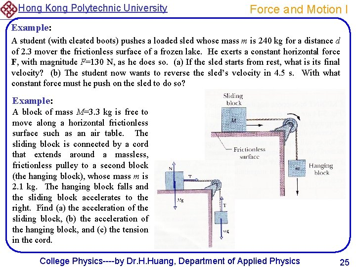Hong Kong Polytechnic University Force and Motion I Example: A student (with cleated boots)