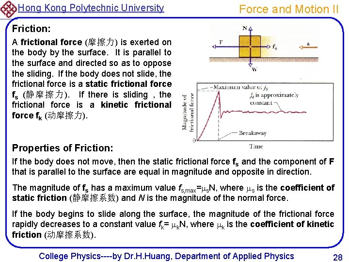 Hong Kong Polytechnic University Force and Motion II Friction: A frictional force (摩擦力) is
