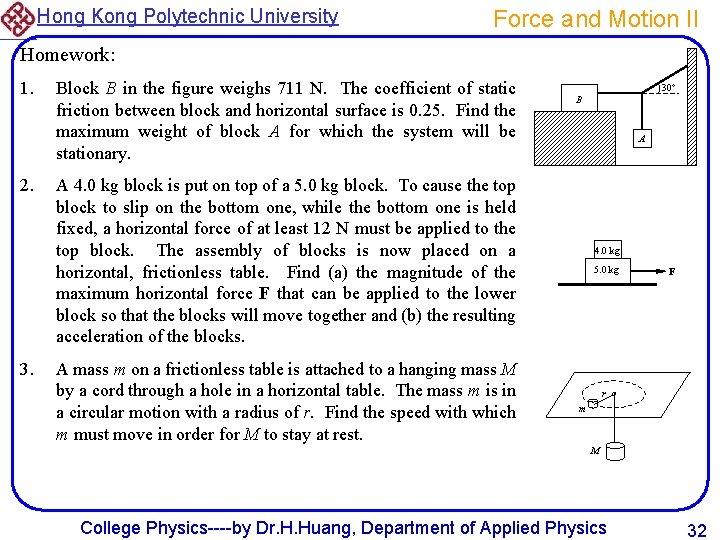 Hong Kong Polytechnic University Force and Motion II Homework: 1. 2. 3. Block B