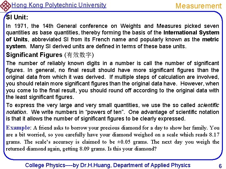 Hong Kong Polytechnic University Measurement SI Unit: In 1971, the 14 th General conference