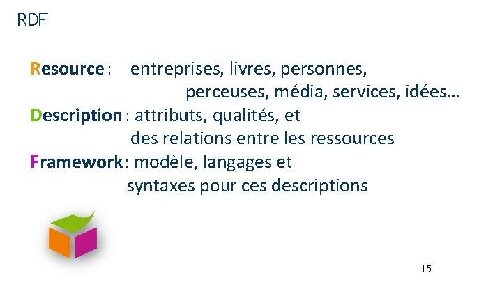 RDF Resource : entreprises, livres, personnes, perceuses, média, services, idées… Description : attributs, qualités,