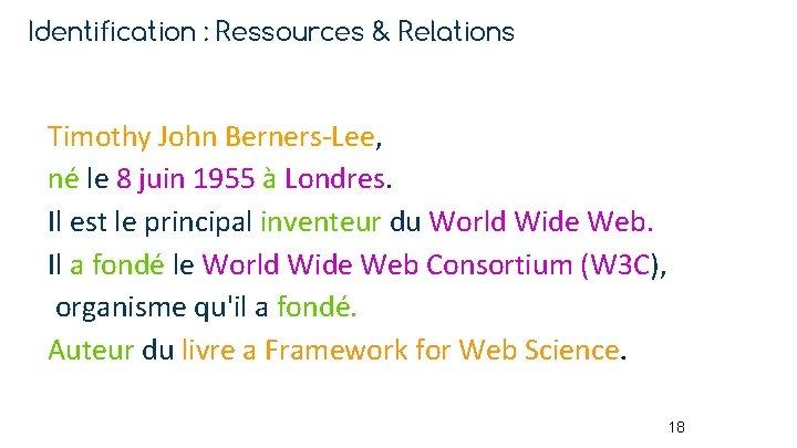 Identification : Ressources & Relations Timothy John Berners-Lee, né le 8 juin 1955 à