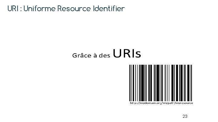URI : Uniforme Resource Identifier 23
