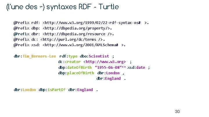 (l'une des ~) syntaxes RDF - Turtle @Prefix @Prefix rdf: <http: //www. w 3.