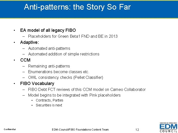 Anti-patterns: the Story So Far • EA model of all legacy FIBO – Placeholders
