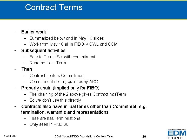 Contract Terms • Earlier work – Summarized below and in May 10 slides –