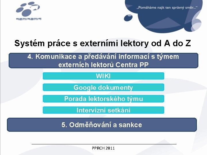 Systém práce s externími lektory od A do Z 4. Komunikace a předávání informací