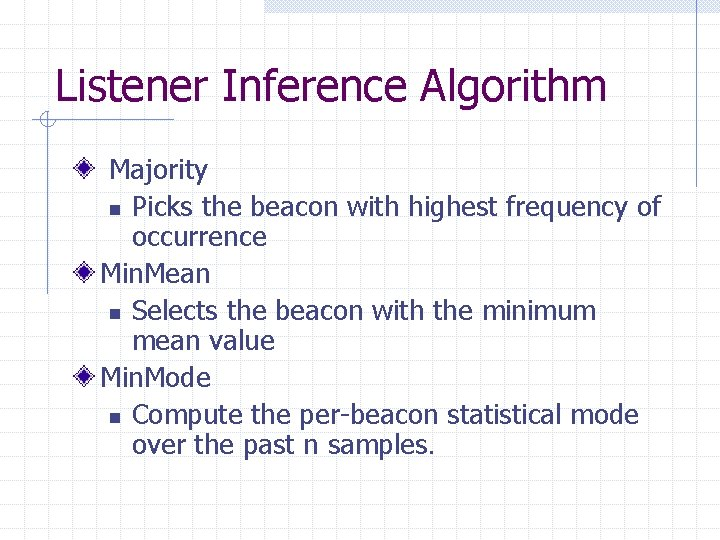 Listener Inference Algorithm Majority n Picks the beacon with highest frequency of occurrence Min.