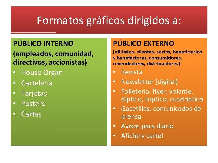 Formatos gráficos dirigidos a: PÚBLICO INTERNO (empleados, comunidad, directivos, accionistas) • House Organ •