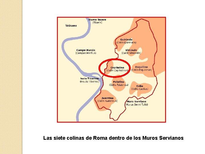 Las siete colinas de Roma dentro de los Muros Servianos