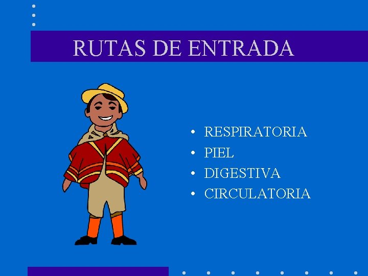 RUTAS DE ENTRADA • • RESPIRATORIA PIEL DIGESTIVA CIRCULATORIA