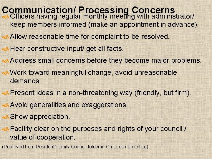 Communication/ Processing Concerns Officers having regular monthly meeting with administrator/ keep members informed (make