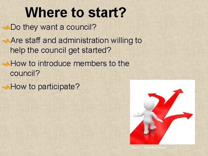 Where to start? Do they want a council? Are staff and administration willing to