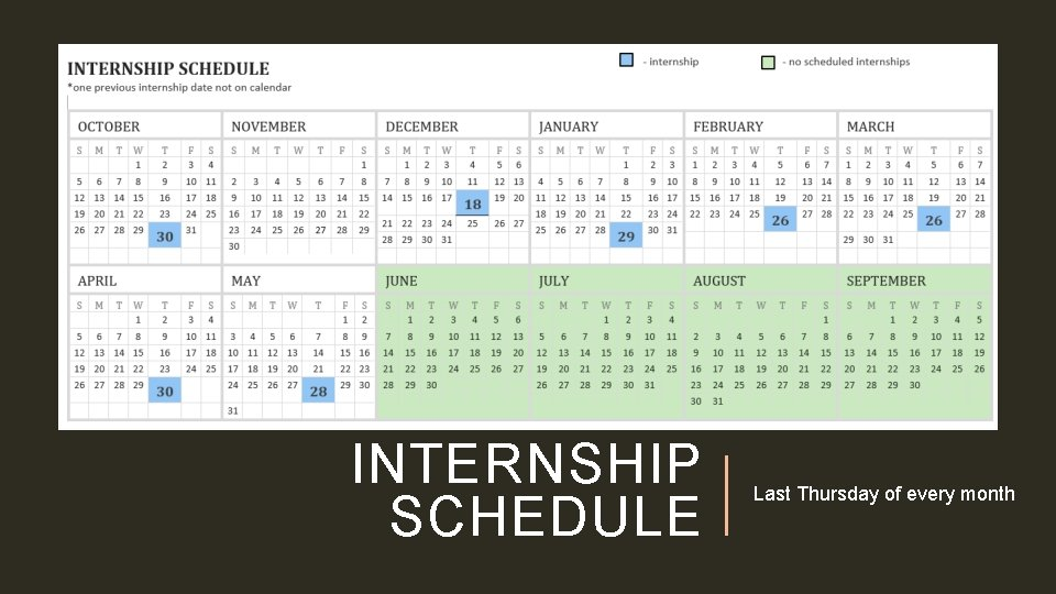 INTERNSHIP SCHEDULE Last Thursday of every month