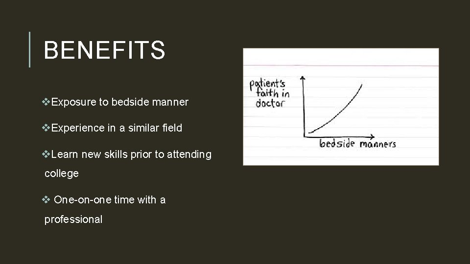BENEFITS v. Exposure to bedside manner v. Experience in a similar field v. Learn