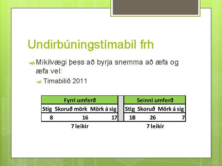 Undirbúningstímabil frh Mikilvægi þess að byrja snemma að æfa og æfa vel: Tímabilið 2011
