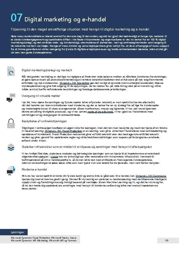 07 Digital marketing og e-handel Tilpasning til den meget omskiftelige situation med hensyn til