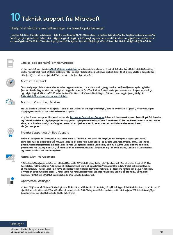 10 Teknisk support fra Microsoft Hjælp til at håndtere nye udfordringer via teknologiske løsninger