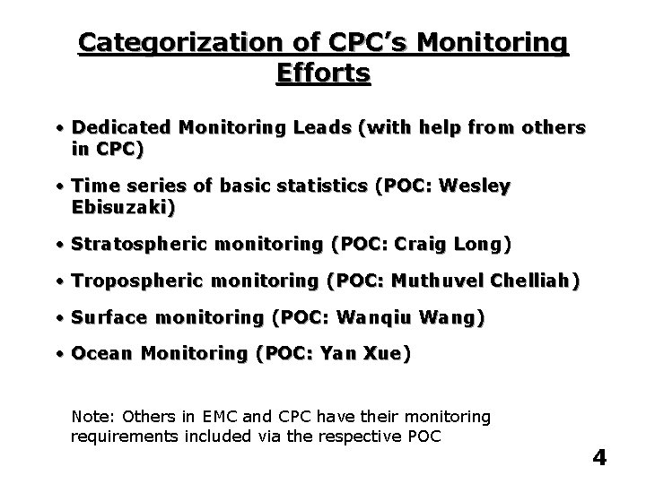 Categorization of CPC's Monitoring Efforts • Dedicated Monitoring Leads (with help from others in