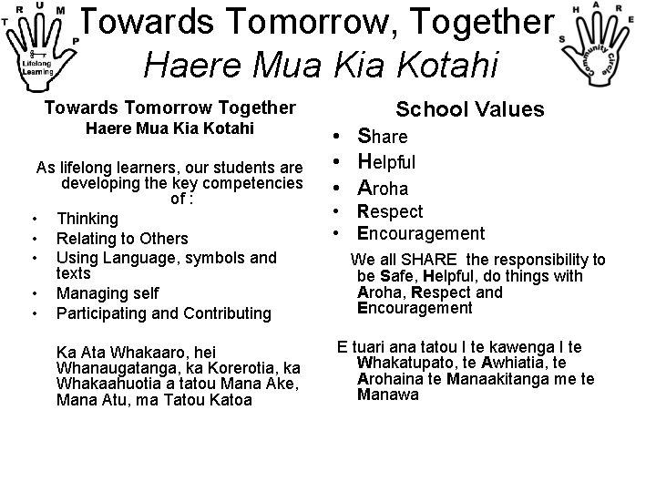 Towards Tomorrow, Together. Haere Mua Kia Kotahi Towards Tomorrow Together Haere Mua Kia Kotahi