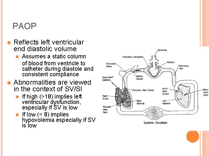 PAOP n Reflects left ventricular end diastolic volume n n Assumes a static column