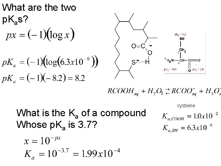 What are the two p. Kas? - What is the Ka of a compound