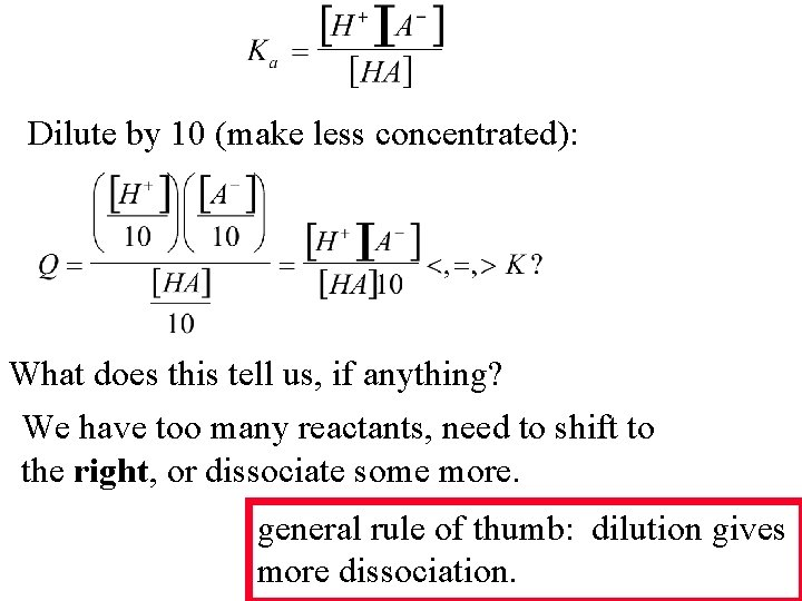 Dilute by 10 (make less concentrated): What does this tell us, if anything? We