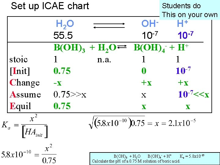 Set up ICAE chart stoic [Init] Change Assume Equil Students do This on your