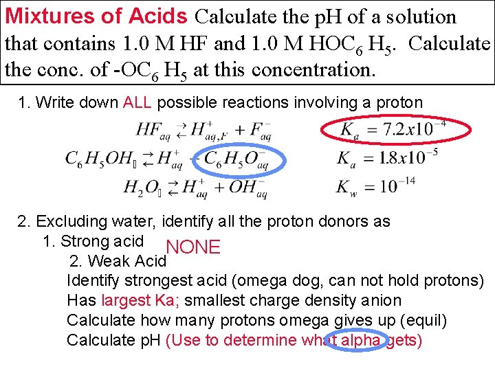 Mixtures of Acids Calculate the p. H of a solution that contains 1. 0