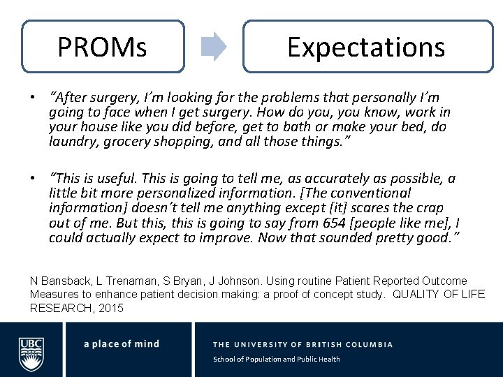 """PROMs Expectations • """"After surgery, I'm looking for the problems that personally I'm going"""