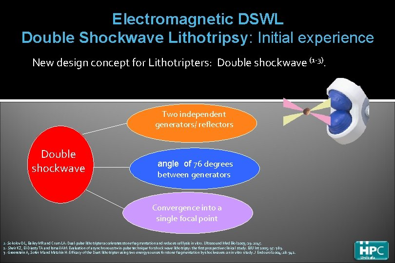 Electromagnetic DSWL Double Shockwave Lithotripsy: Initial experience New design concept for Lithotripters: Double shockwave