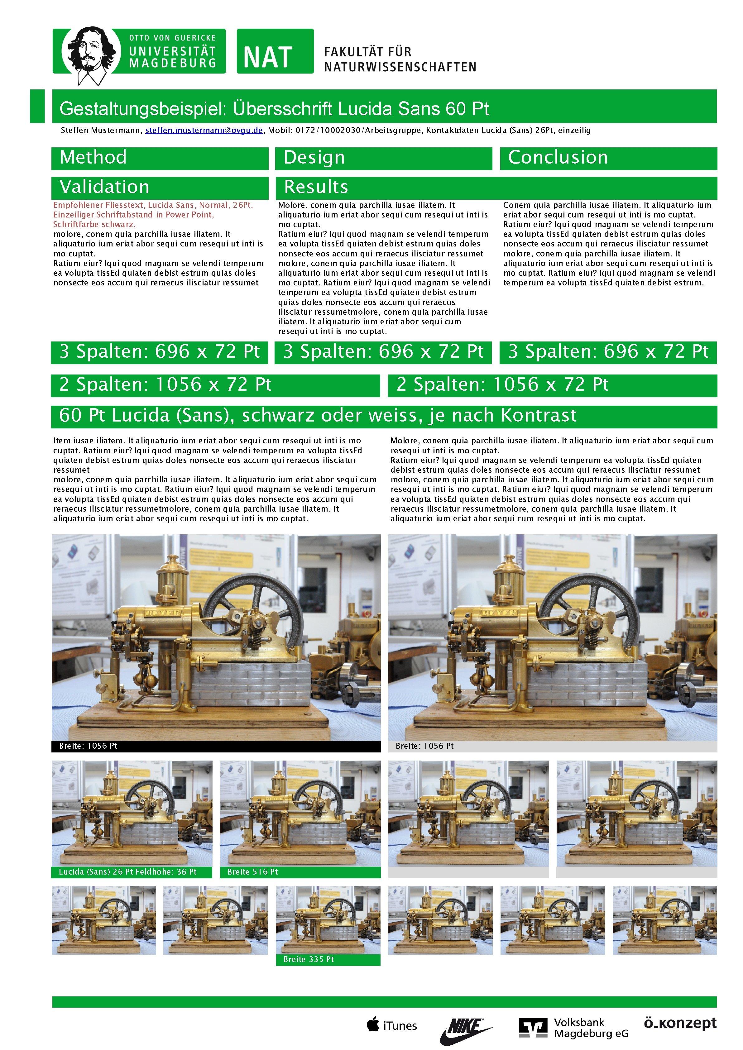 Gestaltungsbeispiel: Übersschrift Lucida Sans 60 Pt Steffen Mustermann, steffen. mustermann@ovgu. de, Mobil: 0172/10002030/Arbeitsgruppe, Kontaktdaten