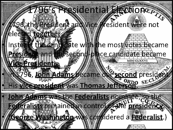 1796's Presidential Election • 1796, the President and Vice President were not elected together.