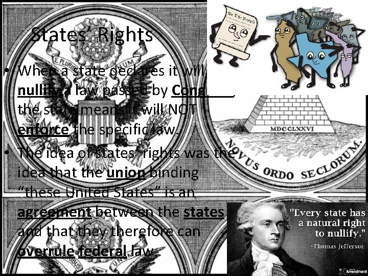 States' Rights • When a state declares it will nullify a law passed by
