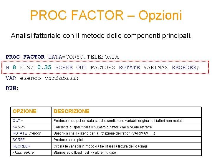 PROC FACTOR – Opzioni Analisi fattoriale con il metodo delle componenti principali. PROC FACTOR