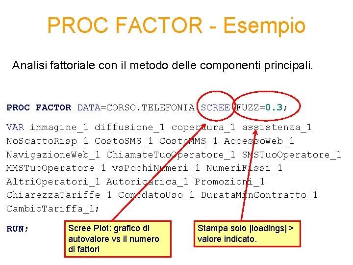 PROC FACTOR - Esempio Analisi fattoriale con il metodo delle componenti principali. PROC FACTOR