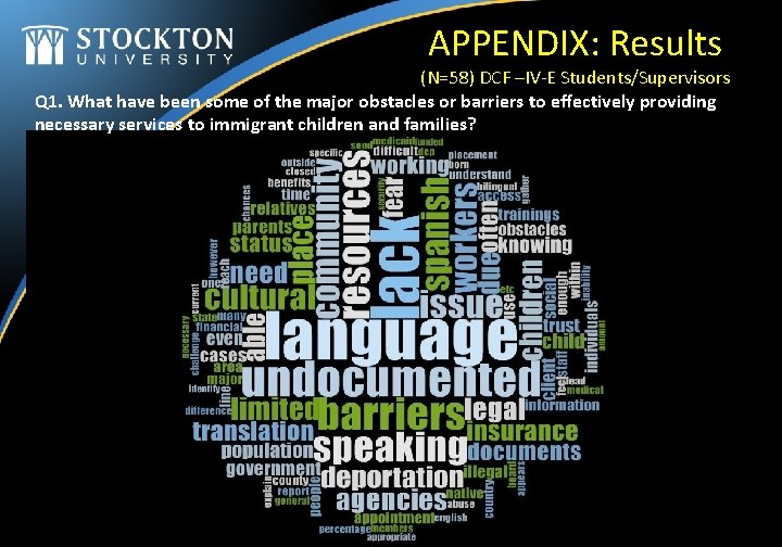 APPENDIX: Results (N=58) DCF –IV-E Students/Supervisors Q 1. What have been some of the