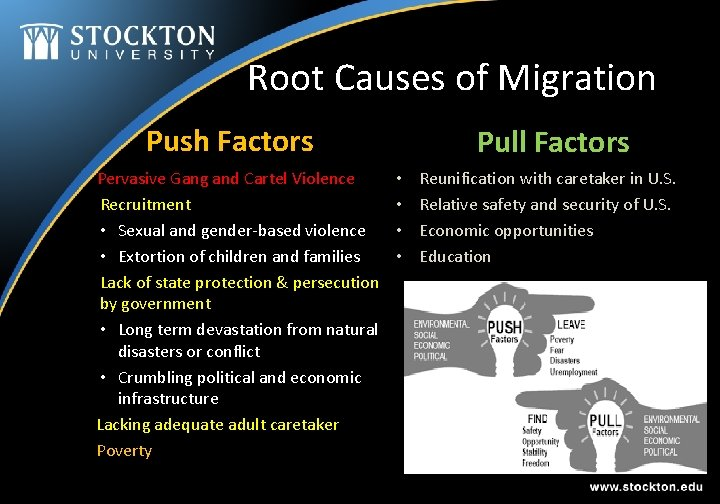 Root Causes of Migration Push Factors Pervasive Gang and Cartel Violence Recruitment • Sexual
