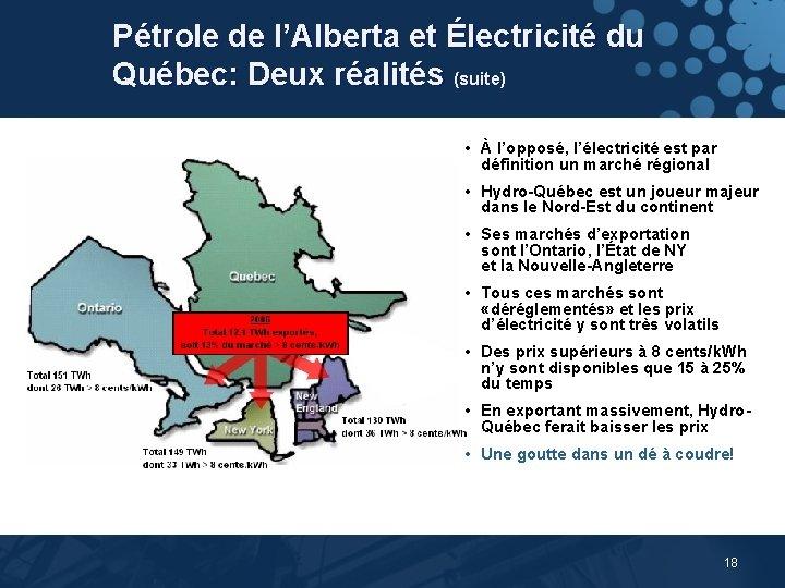 Pétrole de l'Alberta et Électricité du Québec: Deux réalités (suite) • À l'opposé, l'électricité