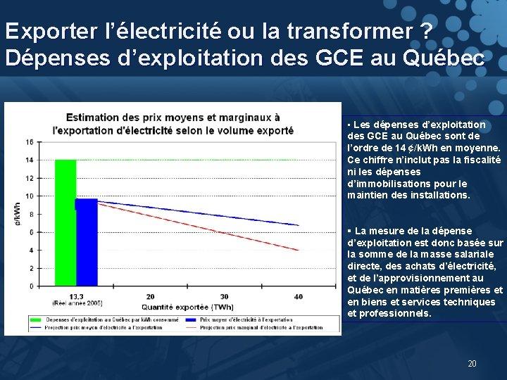 Exporter l'électricité ou la transformer ? Dépenses d'exploitation des GCE au Québec • Les