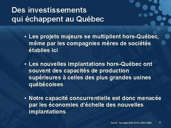 Des investissements qui échappent au Québec • Les projets majeurs se multiplient hors-Québec, même