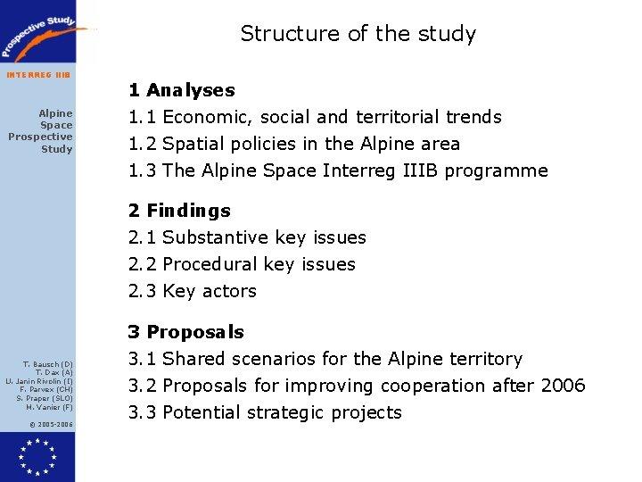 Structure of the study INTERREG IIIB Alpine Space Prospective Study 1 Analyses 1. 1